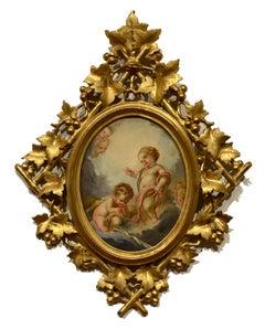 """""""Cherubs,"""" Ridolfo Paoletti, oil, mid 19th c, Italian, Baroque, figurative"""