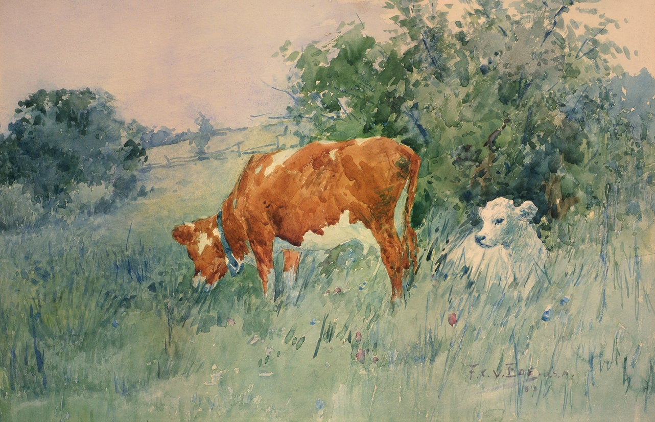 """Spring Calf,"" Frederic Ede, watercolor, impressionist, pastoral landscape, 1889"