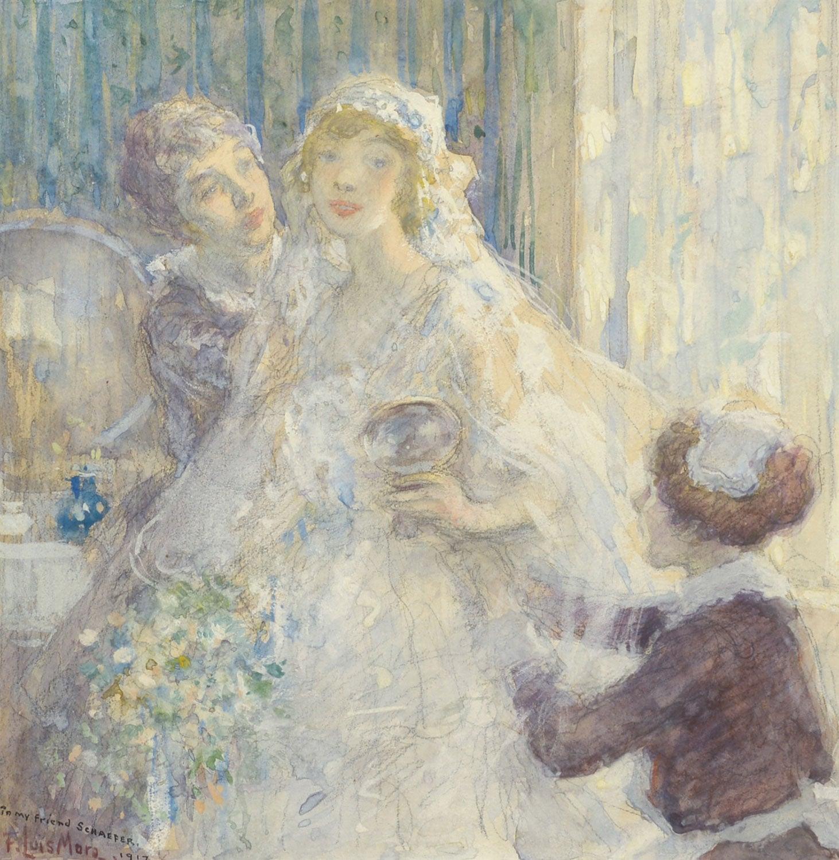 """Wedding Day, 1917,"" F Luis Mora, watercolor, gouache, American Impressionist"