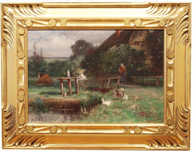In the Farmyard - Painting by Nellie E. Brown (fl. 1890-1910)
