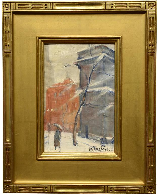 Winter, Washington Square - Painting by Bela DeTirefort