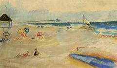 """Day at the Beach,"" Ethel Louise Paddock, pastel, modernist, beach scene, 1940's"