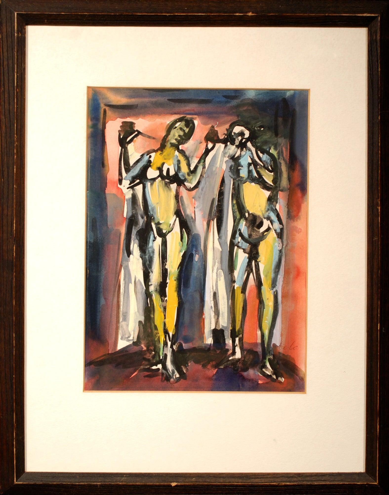 """Two Figures,"" Aldo Colo, Italian, gouache, watercolor, modern"