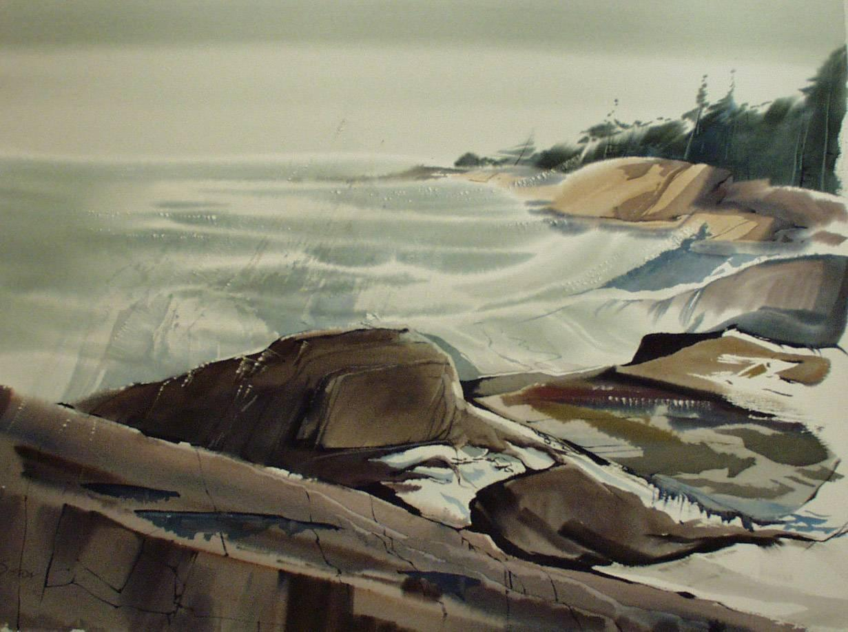 """""""After the Sou'Easter,"""" Laurence Sisson, modern, watercolor, coastal, seascape"""