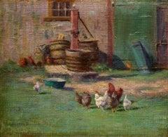 """The Barnyard,"" Walter Douglas, farm scene, chickens, 1897, impressionism"