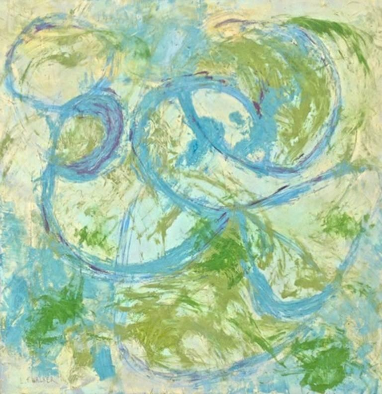 Lynn F. Walker Abstract Painting - Blue and Green