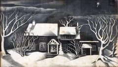 Untitled: Black & White Winter Scene Lithograph