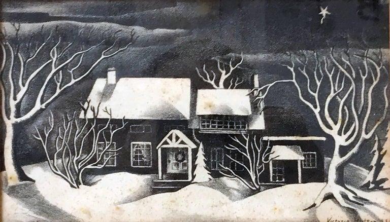 Untitled: Black & White Winter Scene Lithograph