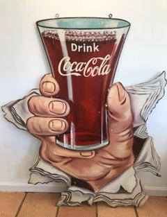 "Unique Hand-Painted Wood Coke Sign - ""Drink Coca-Cola"" circa 1950s"