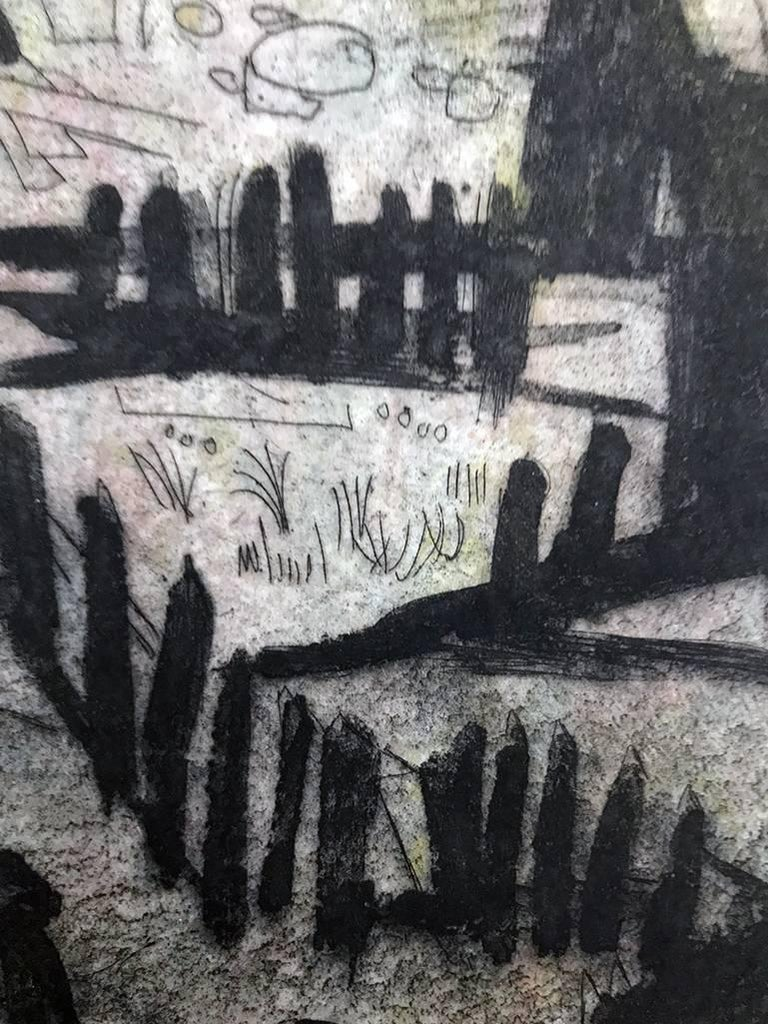 View From Bridge - Black Landscape Print by Jack Bilander