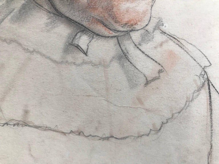 Untitled (Drawing of a Woman) - Beige Portrait by John Gilroy