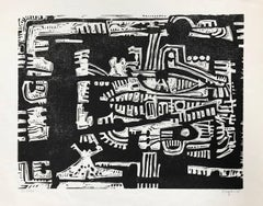Black and White Woodcut Composition (Edition 55/100)