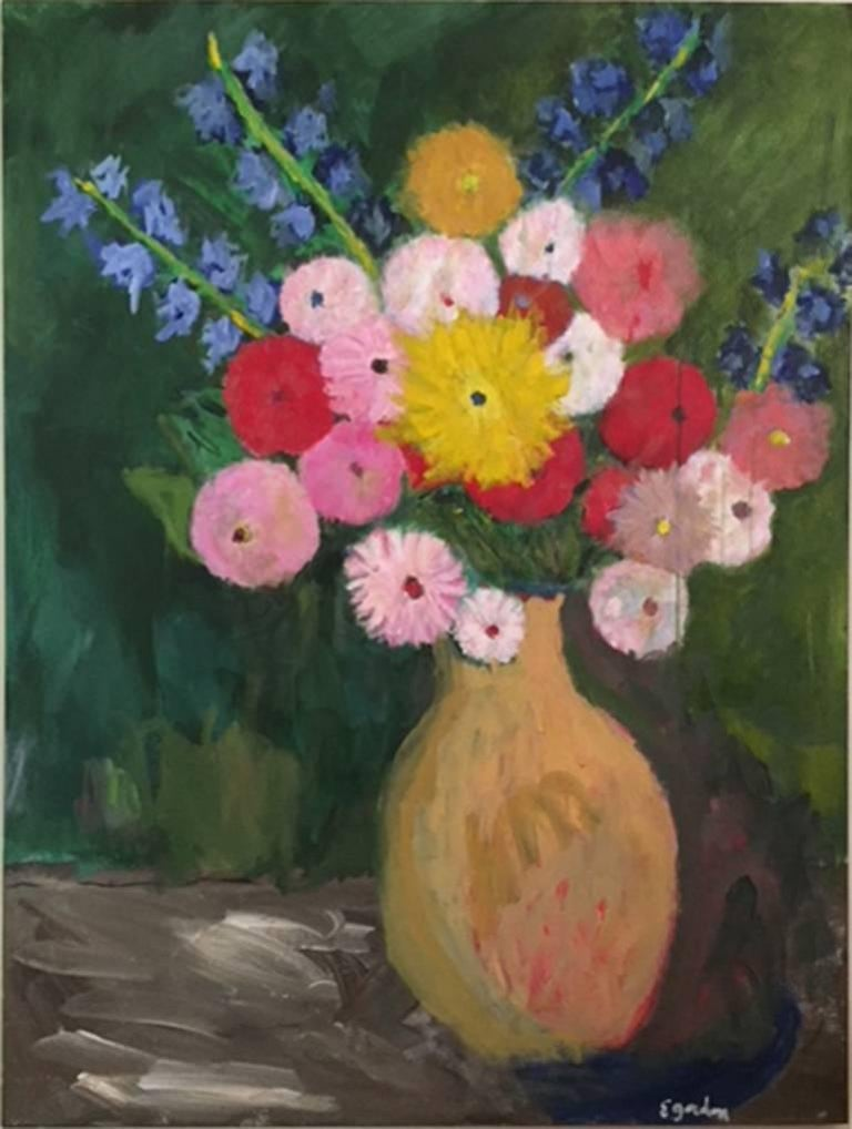 Elliot Gordon Flowers In A Yellow Vase Painting For Sale At 1stdibs