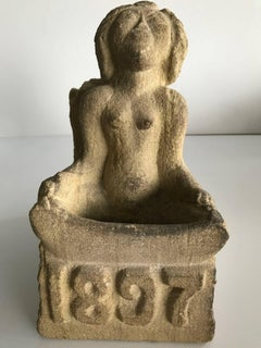 Late 19th Century Stone Carved Figure of Seated Angel