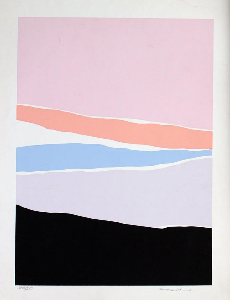Santoro Abstract Print - Untitled: Lavender, Blue & Pink Serigraph (Edition 303/350)