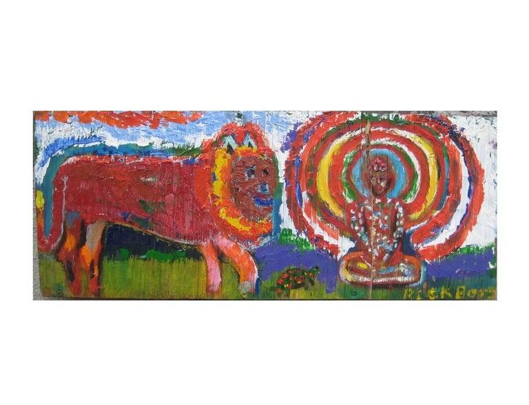 Rick Borg Figurative Painting - Lion, Turtle, Buddha
