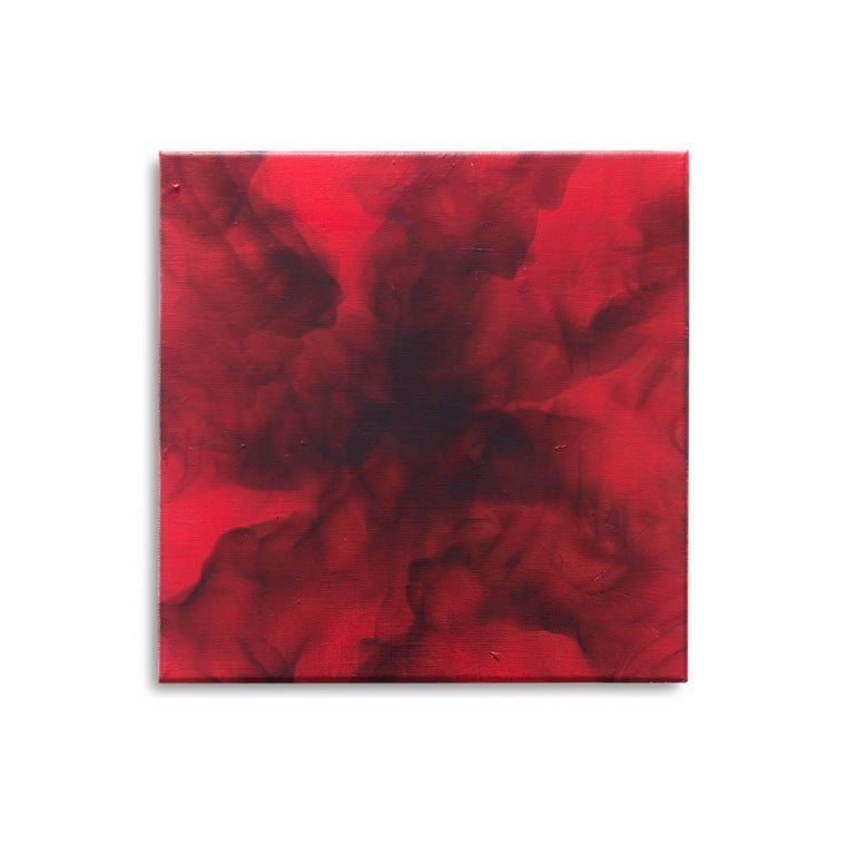 Atomic Bomb, 2017, red oil smoke painting on linen