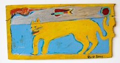 Bright Yellow Cat  Folk Art on Found Wood