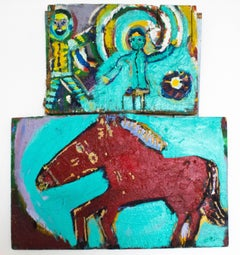 2 Piece Turquoise and Red Horse