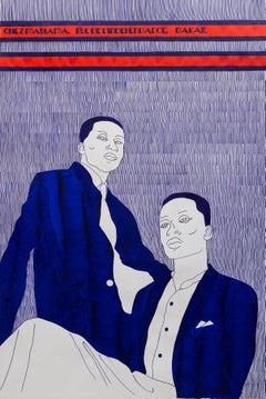 'Le Benjamin' - portrait of two men in ink