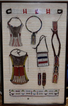 Large Shadow Box with Vintage Zulu Art Beadwork