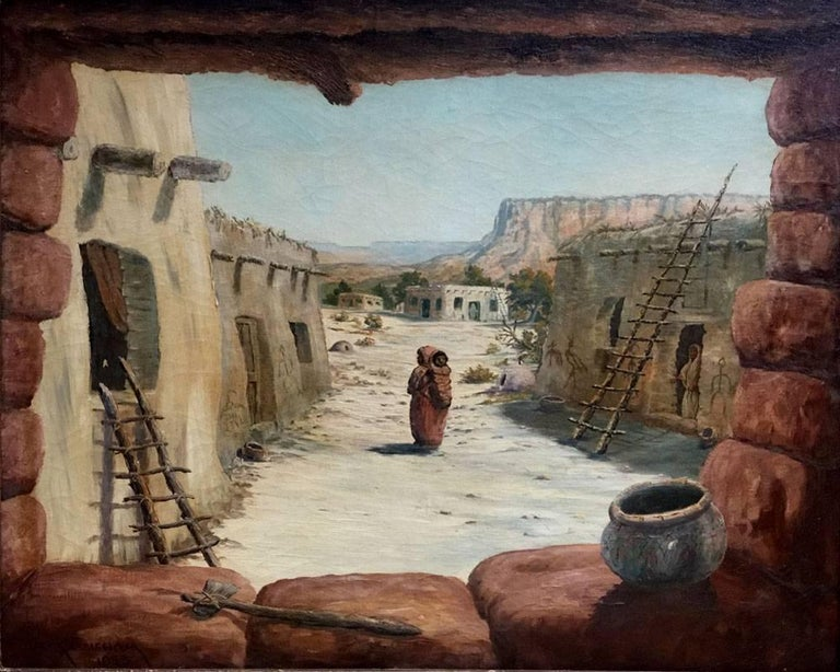 "Jack Grisham Landscape Painting - ""Adobes""  Beautiful Colors unusal scene inside looking out Native American"