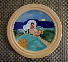"""""""Ox Cart"""" Art Plate Mexican Motif hand made and hand decorated."""
