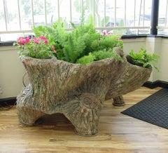 "Sam Murray - ""Tree Trunk Planter"" Faux Bois Sculpture Circa 1940s"