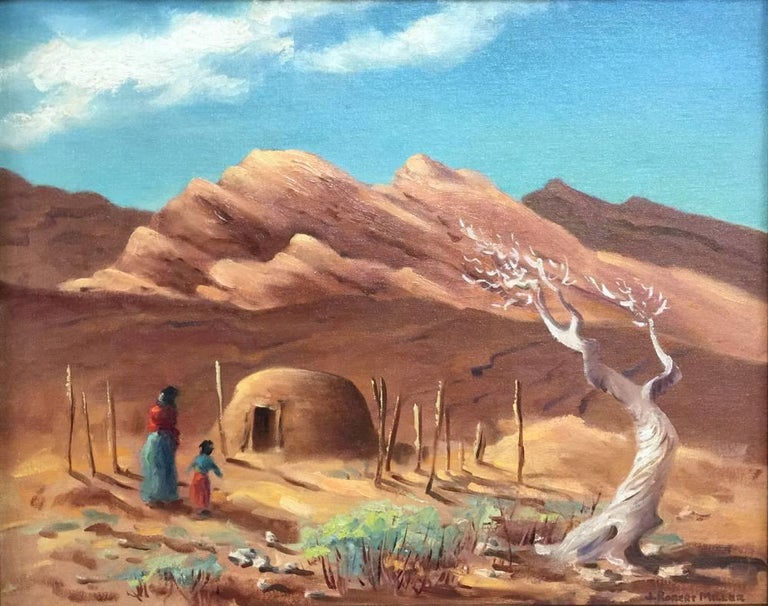 """J. Robert Miller Figurative Painting - """"Going Home""""  Native American, Texas, New Mexico"""
