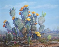 """""""THE SUN WORSHIPER""""  Blooming Prickly Pear Cactus.  Texas Greens, Blues, Reds"""