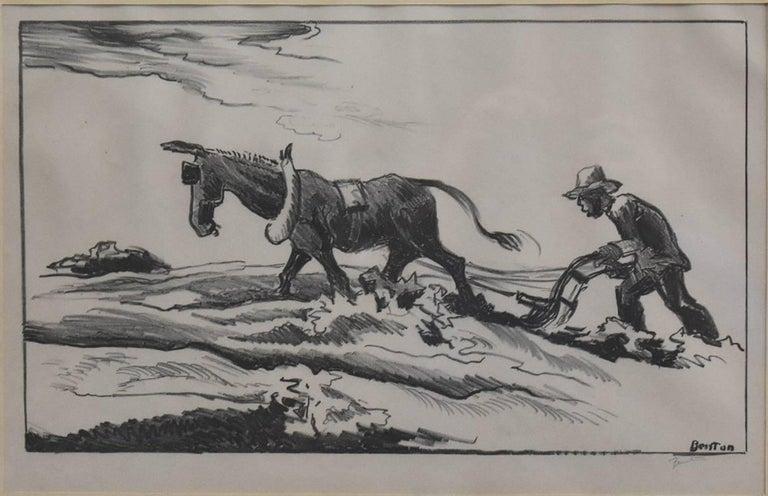 "thomas hart benton - ""plowing"" great 1934 benton signed lithograph ..."