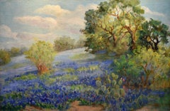 """Bluebonnet""  Texas Hill Country One of her Finest Original Hand Carved Frame"