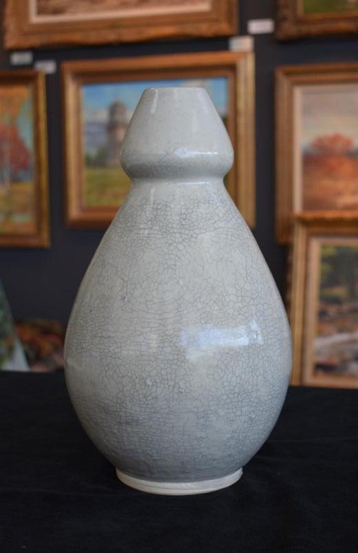 Harding Black Extra Beautiful Crackle Vase By Master Texas Glazer