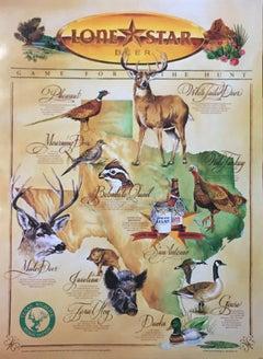 Lone Star Beer Wild Game Print, TEXAS White Tail Deer, Mule Deer, Hogs Hunting