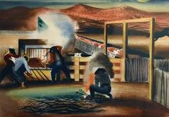 """""""Branding Time""""  Texas Western Regionalist Painting"""
