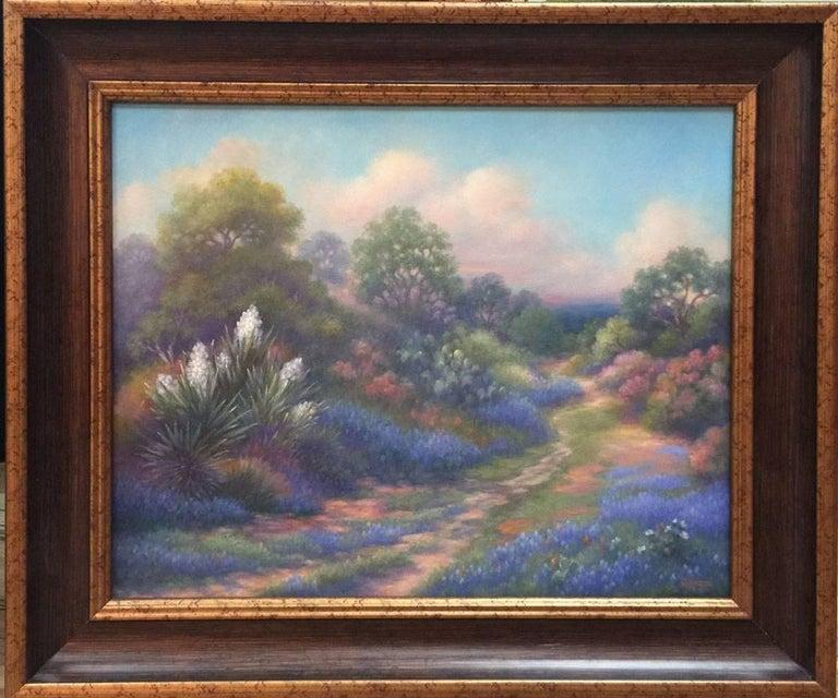 "Maureen Tarazon Landscape Painting - ""The Forgotten Trail""  Bluebonnet Painting"