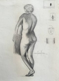 """Bather""  Nude drawing by San Antonio Texas Artist"