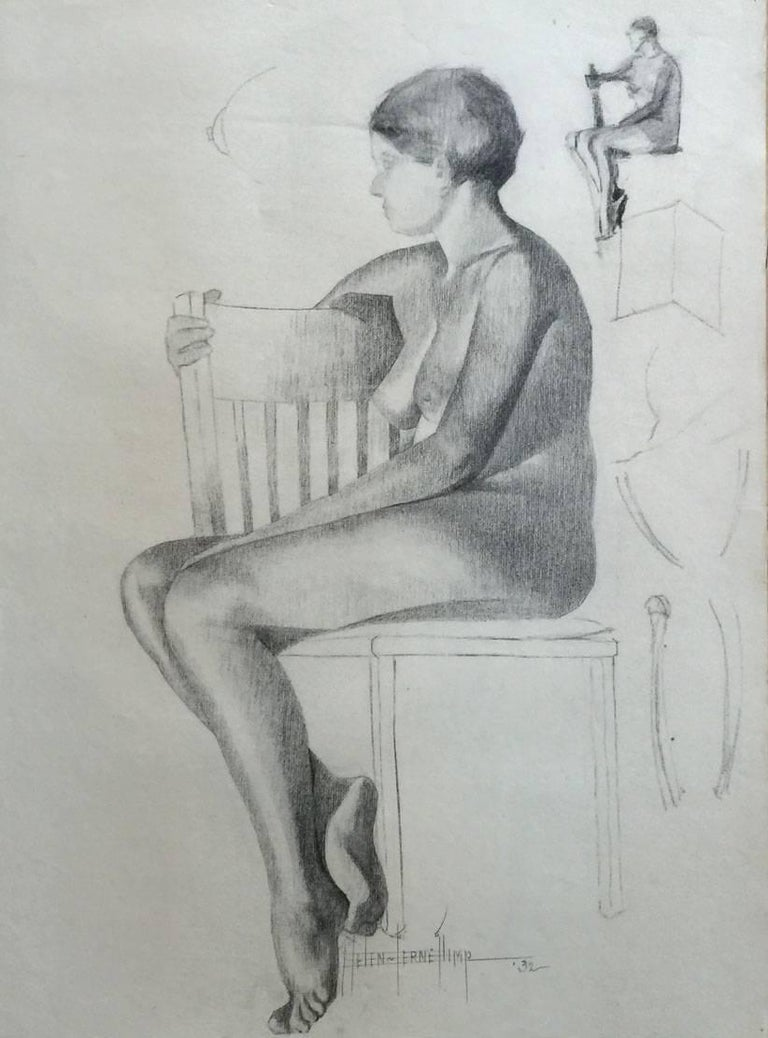 Helen ferne slimp seated nude nude drawing by san antonio texas artist for sale at 1stdibs