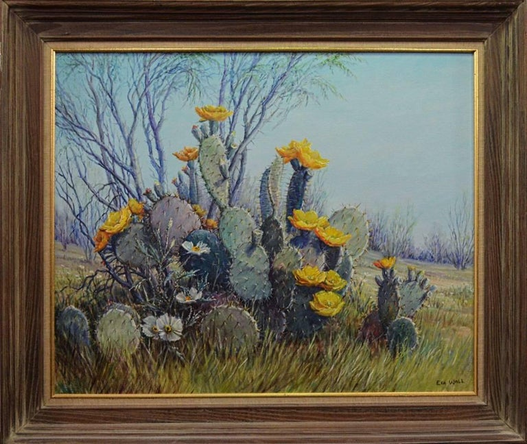 """Exa Wall Landscape Painting - """"Prickly Pear Cactus in Bloom""""  Texas at its best."""