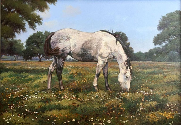 """Eric Harrison  (Born 1971 ) Texas Hill Country Artist Image Size: 34 x 48 Frame Size: 44 x 58   Medium: Acrylic """"Dapple Grey Horse"""" Bio  """"I went to the woods because I wished to live deliberately, to front only the essential facts of life,"""