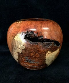 Mesquite hollow form vase/bowl.  Natural Art Wood Turning
