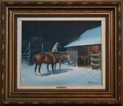 """A WRANGLER'S CHORES""  Painted 1967 WESTERN COWBOY HORSES NOCTURNAL SNOW SCENE"