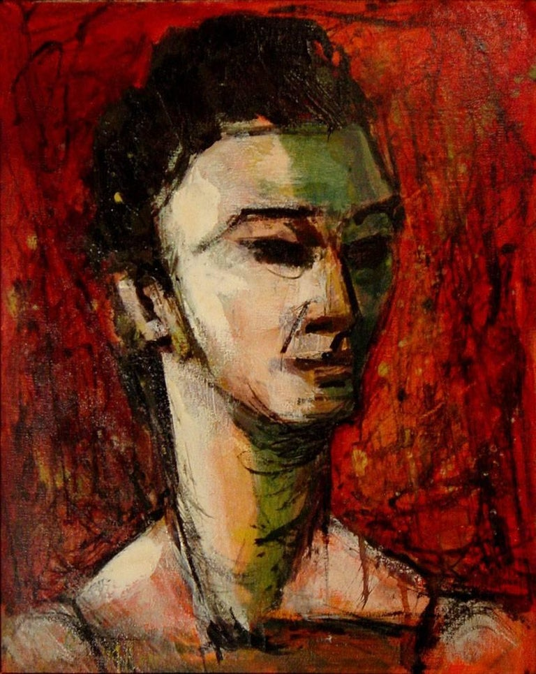 "Clarice Akin Holloway Portrait Painting - ""Retired Ballerina""  Great Mid Century Modern Portrait."