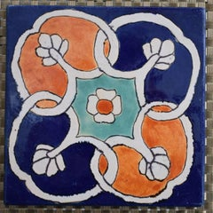"""""""Floral Geometric Tile"""" Art Tile hand made and hand decorated.  Deep blues"""