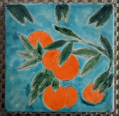 """""""Orange Fruit Tree Tile"""" Art Tile hand made and hand decorated.  Teal blues"""