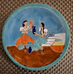 """""""Mexican Women w Pitchers"""" Art plate hand made and hand decorated."""