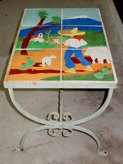 """SCENIC ART TILE TABLE"" ART TILE TABLE 1930s Mexican Themed"