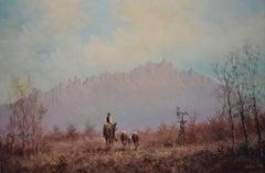"""Bring Em Back""  Western Mountains, Cattle, Cowboy, Horse"