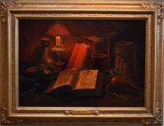 """The Study""  Still life.  Book, Glasses, Candle, Lamp etc.  Famed Texas Artist"