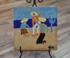 """""""MEXICAN COCK FIGHT"""" Art Tile hand made and hand decorated.  Deep blues"""